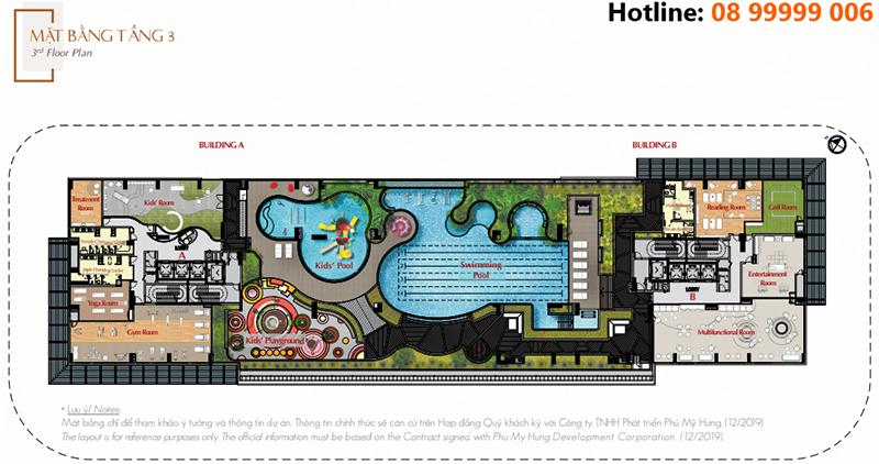 Toàn bộ diện tích tầng 3 dành cho tiện ích của cư dân