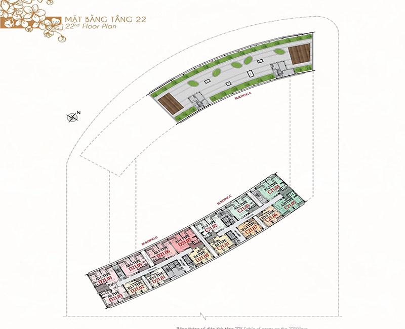 Mặt bằng tầng 22 - Căn hộ và sân vườn