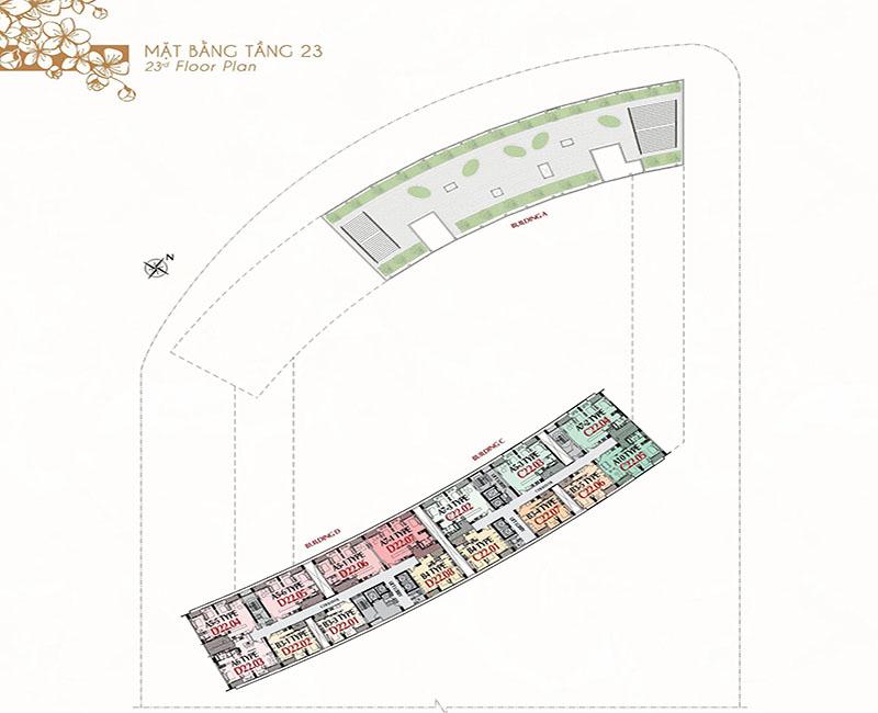 Mặt bằng tầng 23 - Căn hộ và sân vườn