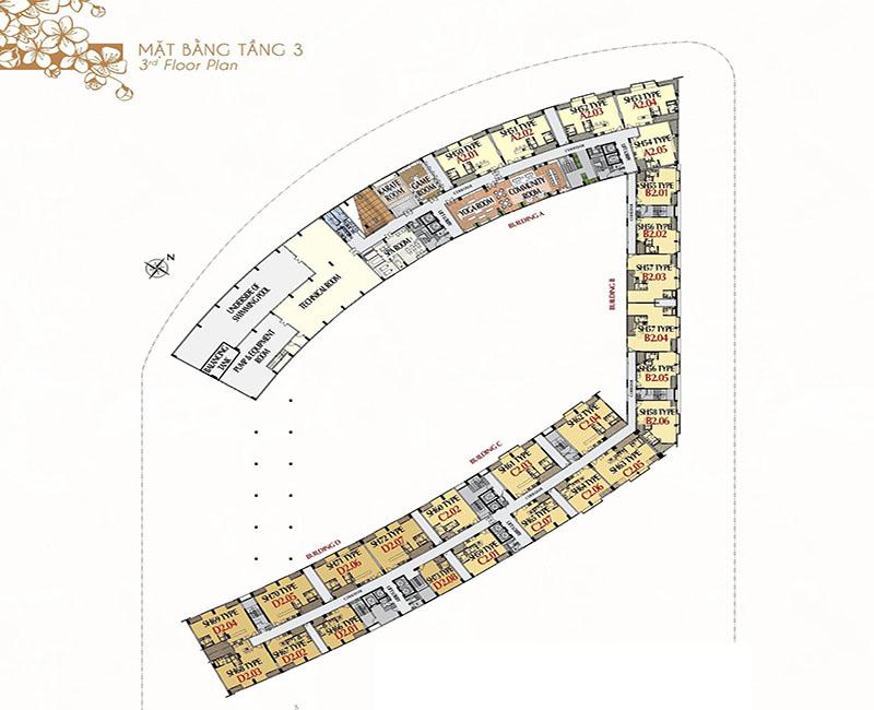 Mặt bằng tầng 3 - tiện ích và cửa hàng
