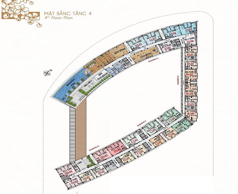 Mặt bằng tầng 4 - tiện ích và căn hộ