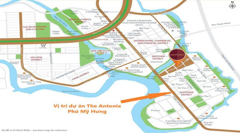 Vị trí The Antonia nằm tại trung tâm Khu Nam Viên - nơi có mật độ xây dựng chưa tới 20% và mật độ cây xanh là 16m2 cây xanh/người