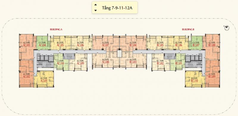 Mặt bằng tầng 7-9-11-12A  - Dự án The Ascentia