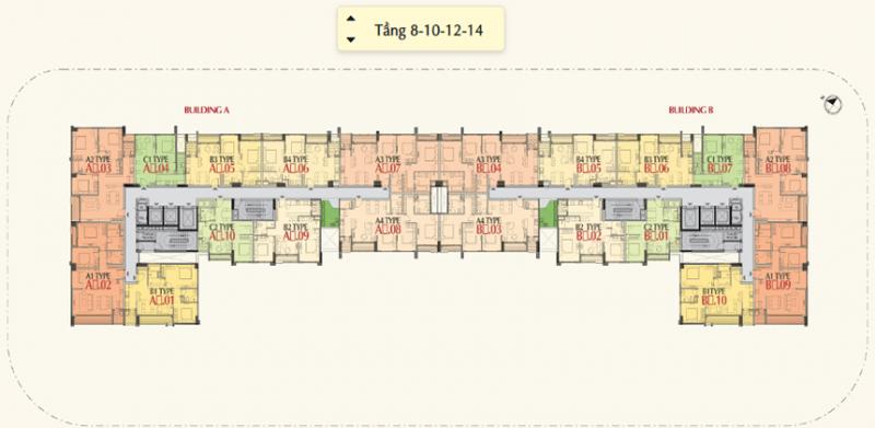 Mặt bằng tầng 8-10-12-14 - Dự án The Ascentia