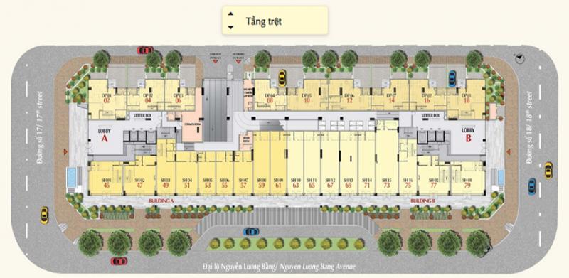 Mặt bằng tầng trệt dự án căn hộ The Ascentia