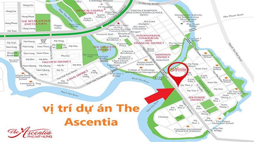 Vị trí dự án căn hộ The Ascentia Phú Mỹ Hưng