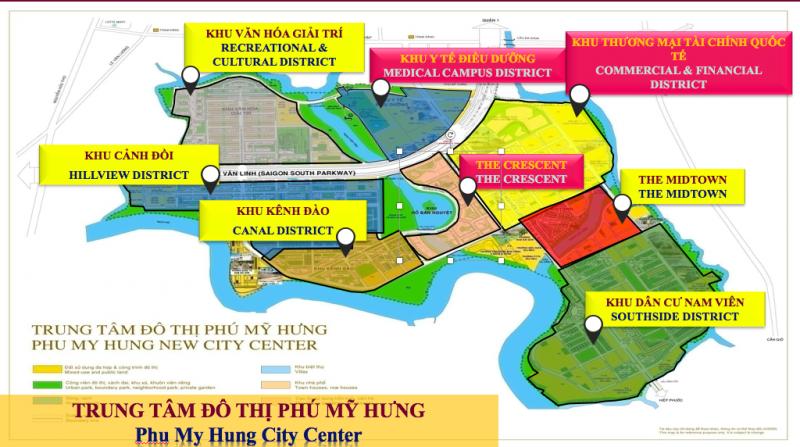 Phú Mỹ Hưng được chia thành 8 khu chức năng (3 khu tiện ích và 5 khu dân cư)