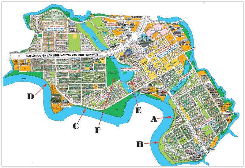 Bản đồ Khu đô thị Phú Mỹ Hưng bao quanh là sông nước