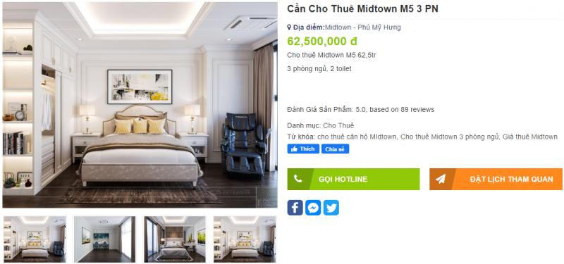 Căn hộ 3 Phòng ngủ dự án Midtown - The Grande đang được chủ nhà cho thuê 62 triệu /tháng