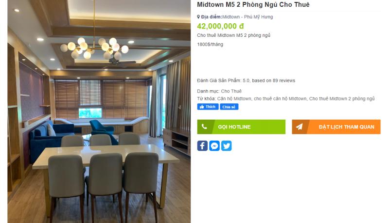 Căn hộ 2 Phòng ngủ dự án Midtown - The Grande đang được chủ nhà cho thuê 1800USD/tháng
