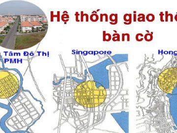 Giao thông tại Phú Mỹ Hưng được quy hoạch bàn cờ với các tuyến đường rộng rãi