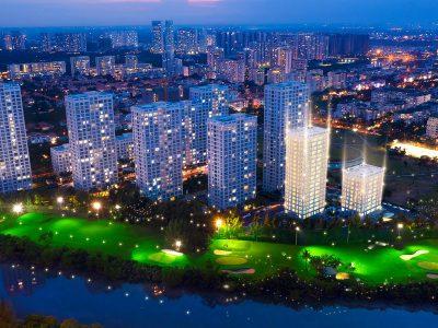View ban đêm dự án căn hộ Happy Valley Premier