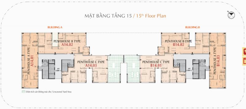 Mặt bằng tầng 15 căn hộ Hưng Phúc Premier (Penhouse)