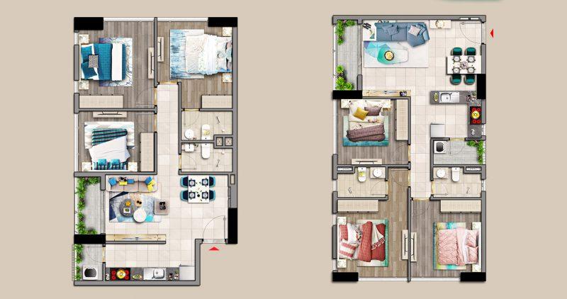 Mẫu căn hộ 2 Phòng ngủ dự án Hưng Phúc Premier