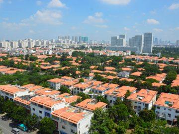 Hình ảnh thực tế nhìn từ trên cao các căn Biệt thự Phú Mỹ Hưng