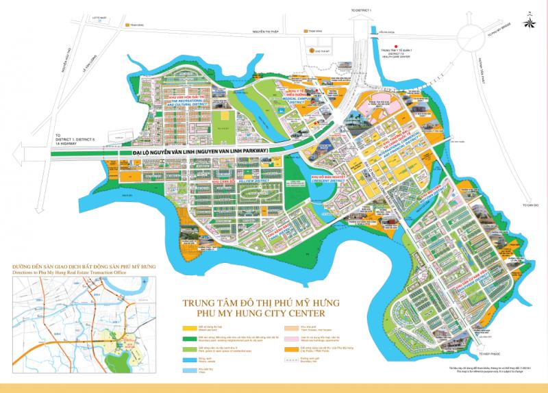 Bản đồ quy hoạch Khu đô thị Phú Mỹ Hưng diện tích 443 ha