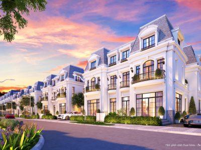 Mặt ngoài Biệt thự song lập dự án Amelie Villa được bàn giao hoàn thiện