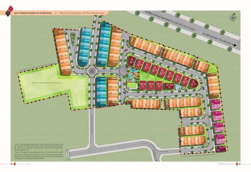 Mặt bằng phân lô dự án Amelie Villa  Dự án gồm: 127căn Nhà phố Liền kề, 13 căn Biệt thự Đơn lập, 9 căn Biệt thự Song lập