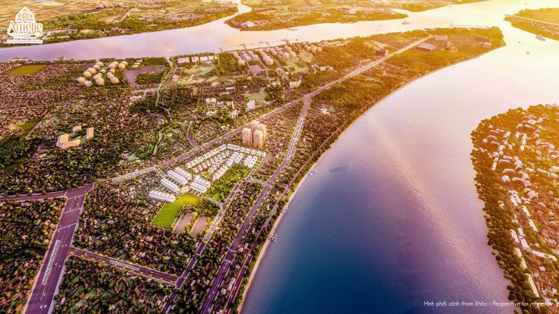 Vị trí dự án nằm ngay ngã ba sông lớn Soài Rạp, tận hưởng không khí xanh mát