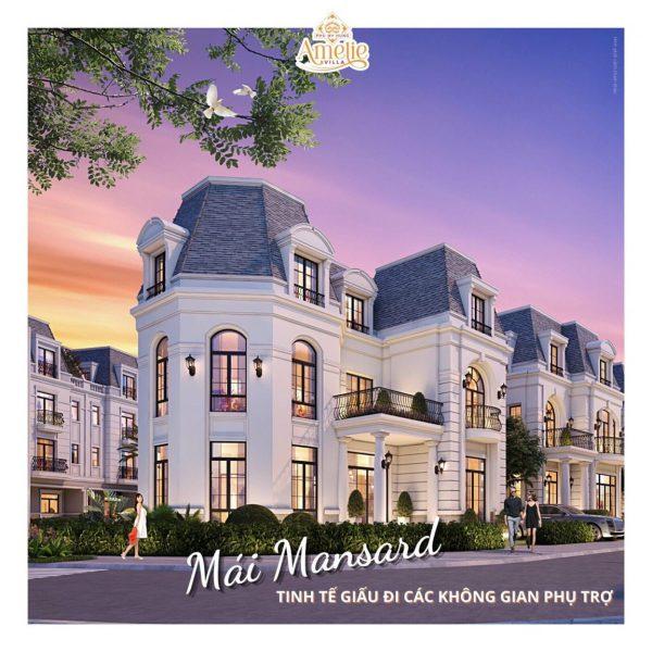 Hệ mái Mansard giúp tăng tính thẩm mỹ sang trọng cho dự án