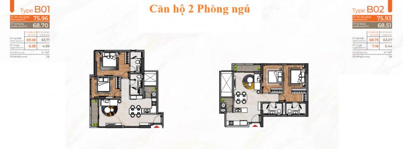 Layout căn hộ 2 Phòng ngủ