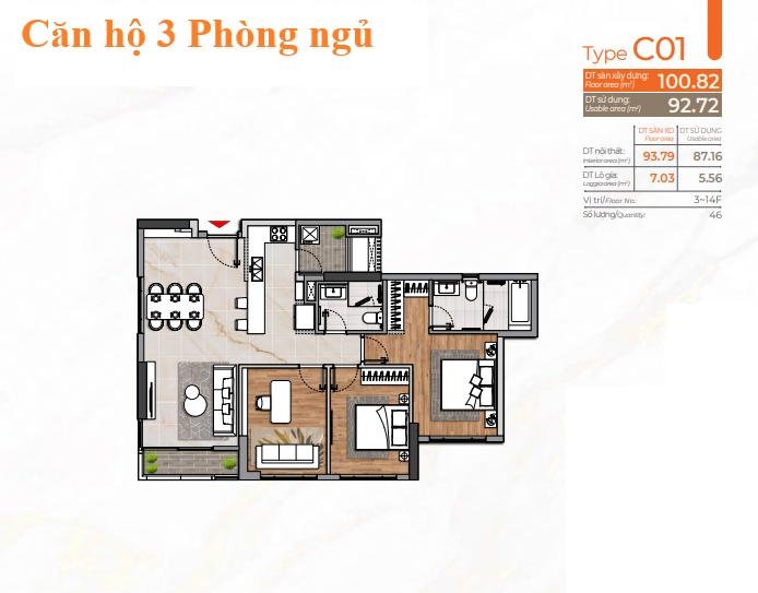 Layout căn hộ 3 Phòng ngủ