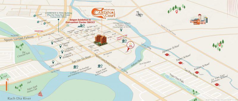 Vị trí dự án Cardinal Court - Trung tâm của đô thị Phú Mỹ Hưng